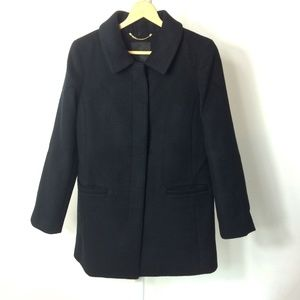 TALBOTS | Wool Blend Black Dress Coat w/Pockets
